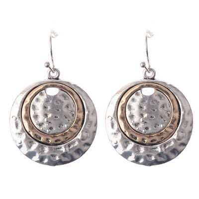 Womens Vintage National Style Silver Big Round Bronze Inlay Dangle Earrings Cool