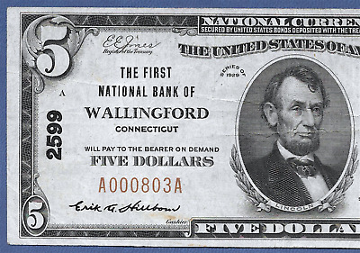 Ct 1929 $5   ♚♚ Wallingford, Connecticut ♚♚  Hard To Find