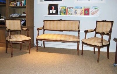 Louis XV Style french Carved Loveseat Sofa Couch canape with two chairs