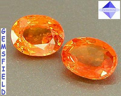 SI !!! 0.60ct !!! SAPHIRS de SRI LANKA - PAIRE LUMINEUX orange feu - poli AAA