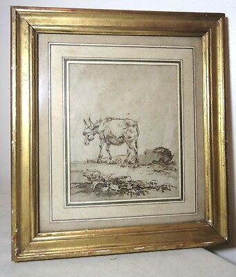 antique 18th century original Jean-Baptiste Huet goat ink drawing painting art