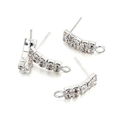 20PC Brass Pave Crystal Rhinestone Earring Posts Stud Loop Rectangle Silver 19mm