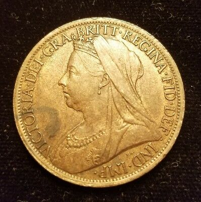 1901 Great Britain 1 One Penny Bronze Queen Victoria UK England Strong  XF