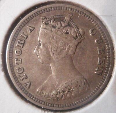 1892 10c HONG KONG - BRITISH RULE VICTORIA SILVER DIME - 11 pearls right crown