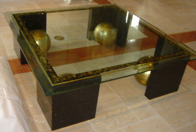 Glass and Marble Coffee Table with Gold Painted Spheres