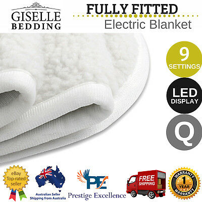 NEW Fitted Electric Blanket LED Display Washable Fleecy Underlay Mat Queen Size
