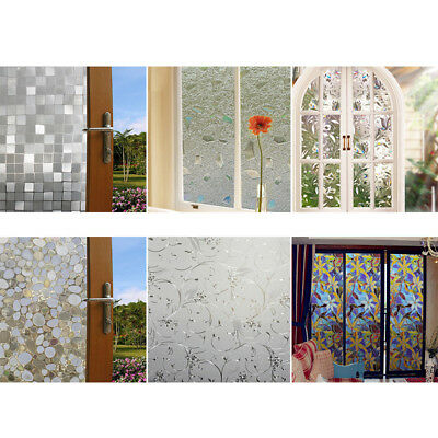 3D No Glue Static Removable Home Decorative Privacy Window Films Frosted Clings~
