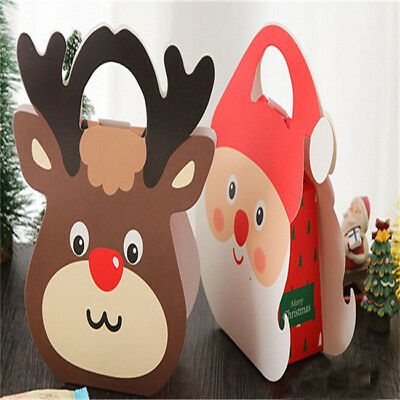 Christmas Santa Claus Elk Paper Favour Gift Cupcake Apple Carrier Bags Boxes BS