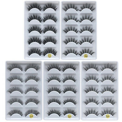 5 Pairs Handmade 100% Real Mink 3D False Eyelashes Cross Thick Long Eye Lashes