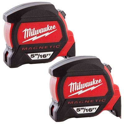 Milwaukee 4932459374 5m/16ft Premium Measure Tape Dual Magnetic Hook Pack Of 2