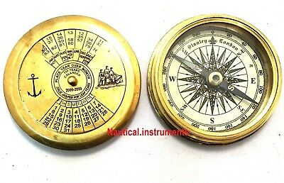 Brass Calendar Pocket Compass With Robert Frost Poem Collectible Gift