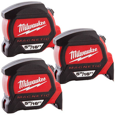 Milwaukee 4932459374 5m/16ft Premium Measure Tape Dual Magnetic Hook Pack Of 3