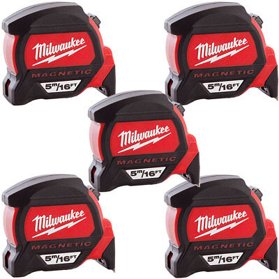 Milwaukee 4932459374 5m/16ft Premium Measure Tape Dual Magnetic Hook Pack Of 5