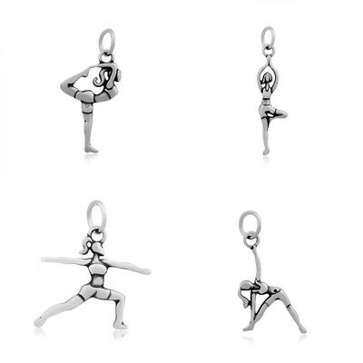 10pcs Antiqued 316 Stainless Steel Pendants Yoga Theme Poses Dangle Charms 21mm