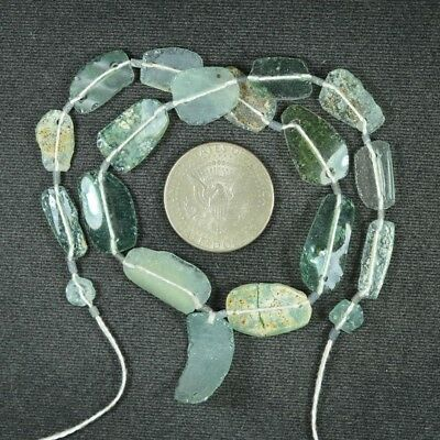 Ancient Roman Glass Beads 1 Medium Strand Aqua And Green 100 -200 Bc 960