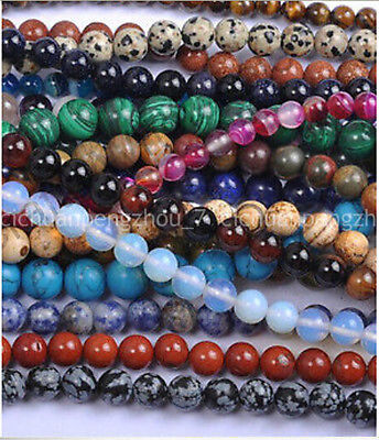 """Natural 4-6-8-10mm Multiple colors & materials Gems Round Loose Beads 15"""" 10579"""