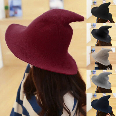 New Winter Men Women Unisex Witch Pointed Wool Hat Cap Bowler Fedora Cap Trilby