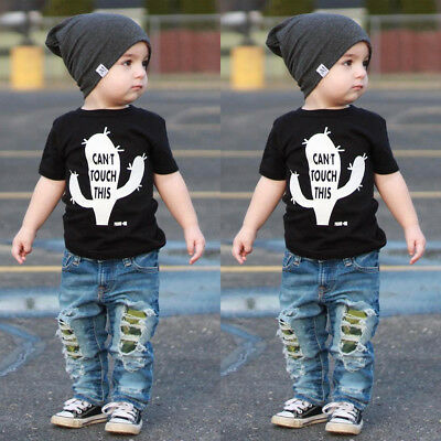 US Newborn Baby Boy Cactus T-shirt Tops+Ripped Jeans Denim Pants Clothes Outfits