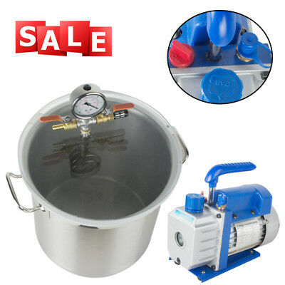 5Gallon Stainless Steel Vacuum Degassing Chamber Silicone Kit w/3 CFM Pump CE