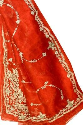 Vintage Heavy Dupatta Antique Women Bridal Long Scarf Embroidered Stole HD1098