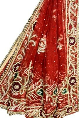 Vintage Heavy Dupatta Antique Women Bridal Long Scarf Embroidered Stole HD1100