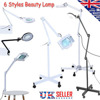 Beauty Cosmetic Tattoo Manicure Magnifying Lighted Desk /Floor Lamp White /Black