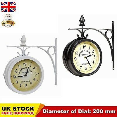 Garden Station Wall Clock Double Sided Outside Bracket 20 cm Stylish Durable UK