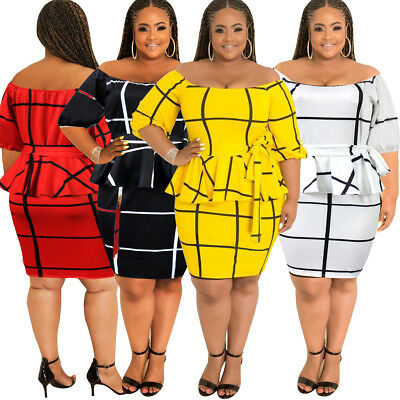 Womens Plus Size Evening Dresses Off Shoulder Skirt Bodycon Cocktail Clothing