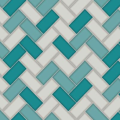 Chevron Tile Wallpaper Teal Holden 89301 - Kitchen / Bathroom New