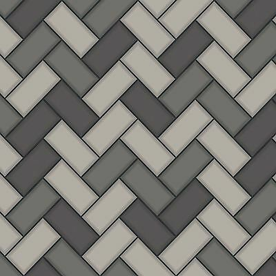 Chevron Tile Wallpaper Charcoal / Grey Holden 89302 - Kitchen / Bathroom New