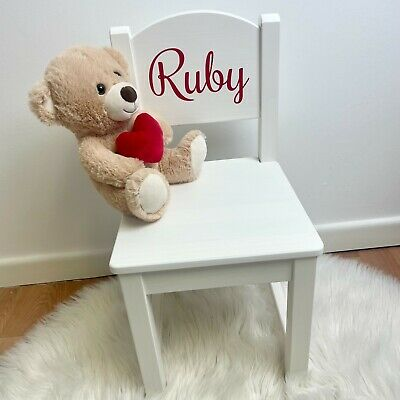 PERSONALISED NAME CHILDRENS WOODEN CHAIR Boy Girl Christening Birthday PRESENT