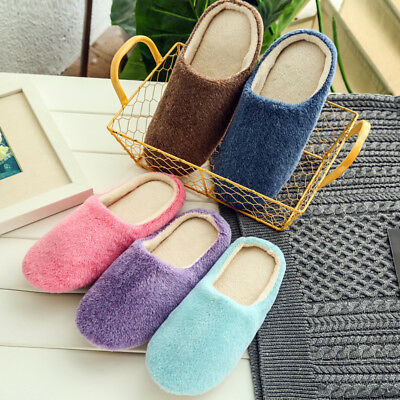 Ladies Mens Home Non Slip Sole Soft Plush Slippers Winter Warm Shoes Size 3-8 UK