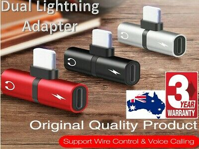 Dual Lightning Audio Headphone Adapter Charger Splitter for iPhone 8 Plus 7 X XR