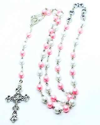 PERSONALISED Any Name 2 colour Glass Rosary beads New baby, Christening, Baptism