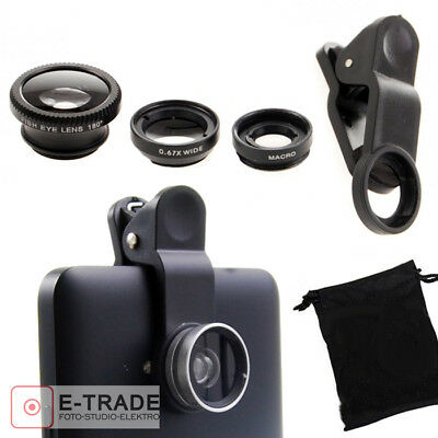 3in1 Universal Mobile Phone Tablet Camera Lens Kit Fish Eye + Micro + Wide Angle