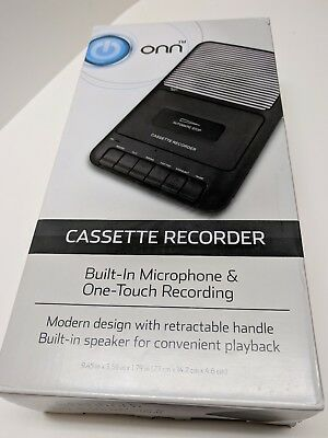 Onn Portable Cassette Tape Player Recorder W/Internal Microphone in Box