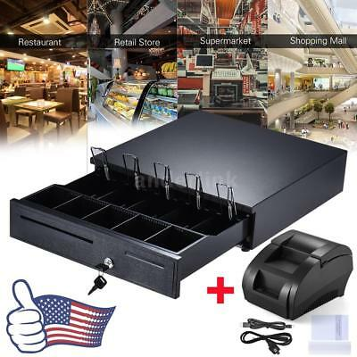 5 Bill 5 Coin Cash Register Drawer Box+USB 58mm POS Thermal Dot Receipt Printer