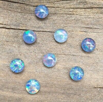 2 Pc Pround Shape Cabochon Natural Australian Triplet Opal 5Mm Loose Gemstones