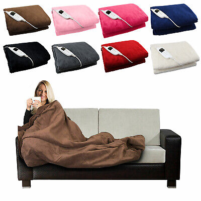 Electric Blanket Heated Over Throw Under Fleece Washable Glowmaster Bed Mattress