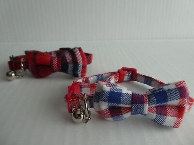 Tartan Bow Tie Cat Collar, Safety Release, Removable Bow