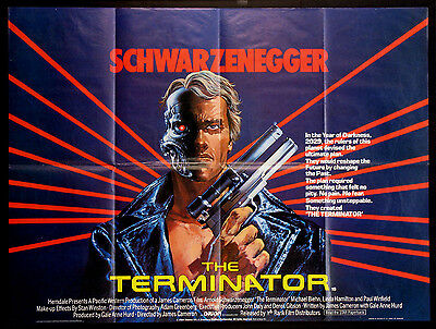 The Terminator Arnold Schwarzenegger James Cameron 1984 British Quad