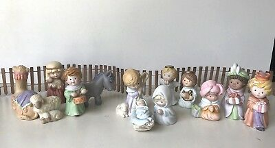 Lot of 13 Avon 1986 Heavenly Blessings Nativity Set with Fence Vintage Porcelain