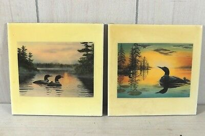Pair Wolf Creek Art Ceramic Wall Hanging Tile Loon Cabin Lodge Decor Rick Kelley