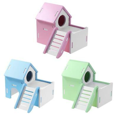 Wood Cute Hamster House Viewing Deck Ladder Small Pets Rat Mouse Hut Nest