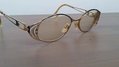 Vintage Cazal Gold/blue Eyeglasses/sunglasses Frame Made In Germany With Case