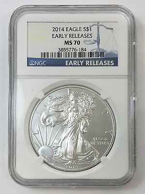 2014 1oz American Silver Eagle NGC MS70 Early Releases Blue Label $1 .999 Coin