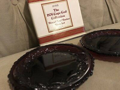 """NEW Avon 1876 Cape Cod 5 1/2"""" Ruby Red Glass Bread and Butter Dish Set 2  NIB"""