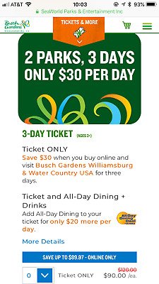 Busch Gardens And Water Country USA Ticket