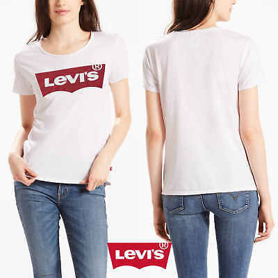 Levis Damen T-Shirt Top Shirt Bluse PERFECT TEE LARGE WING WHITE GRAP 17369-0053