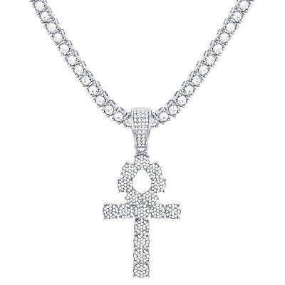"""Ankh Cross Pendant Silver Plated Iced Stone 24"""" Tennis Chain Necklace TMP 722 S"""